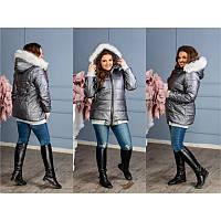 Куртка с белым опушком на капюшоне  мод.5144 ХЛ+