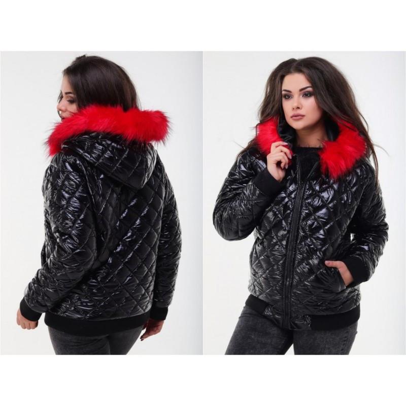 Куртка с красным мехом мод.338