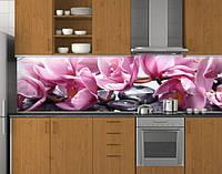 Скинали кухонная Розовые орхидеи ПЭТ 62х205 см (под заказ любой размер)