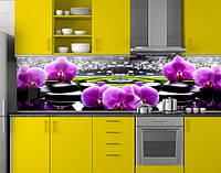 Кухонная панель на фартук Фиолетовые орхидеи на черных камнях (скинали пластиковые) ПЭТ 62х205 см