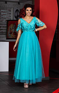 Женское нарядное платье с декором в расцветках, р-р 42-50. Ш-37-0419