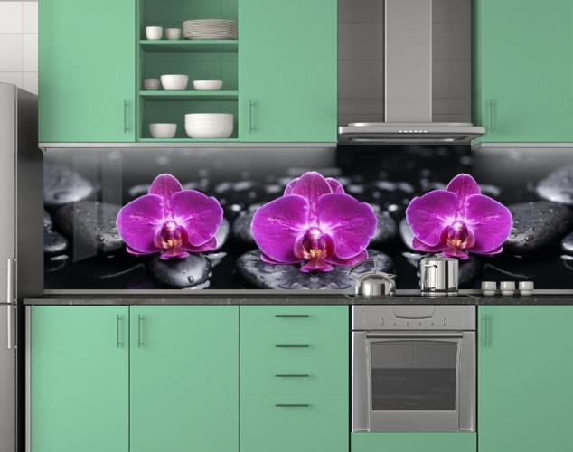 Пластиковый Фиолетовые орхидеи на черных камнях ПВХ 62х205 см (под заказ любой размер)