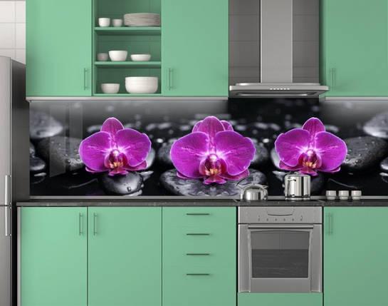 Пластиковый Фиолетовые орхидеи на черных камнях ПВХ 62х205 см (под заказ любой размер), фото 2
