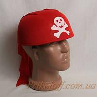 Шляпа Пирата с косынкой, красная