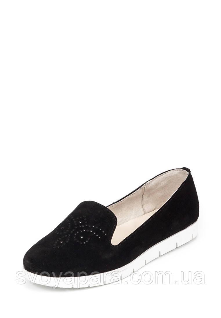 Туфли женские слиперы черные замшевые (10119)