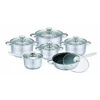 Набор посуды из нержавеющей стали UNIQUE UN-5033 (12 предметов)