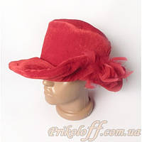 Шляпа красная с полями и цветком, меховая