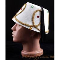 """Шляпа """"Феска"""", белая с камнями"""