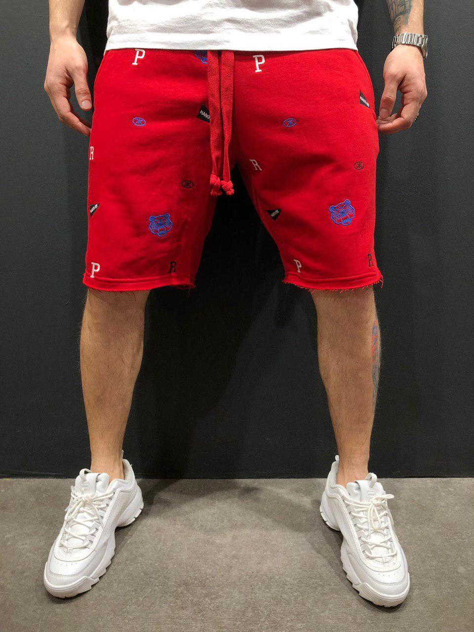 Мужские шорты трикотажные красные BRS-9056
