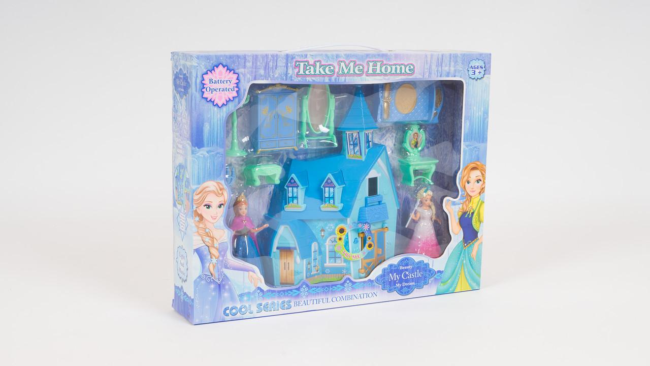 Замок принцессы - музыкальный с подсветкой. В наборе мебель и 2 фигурки