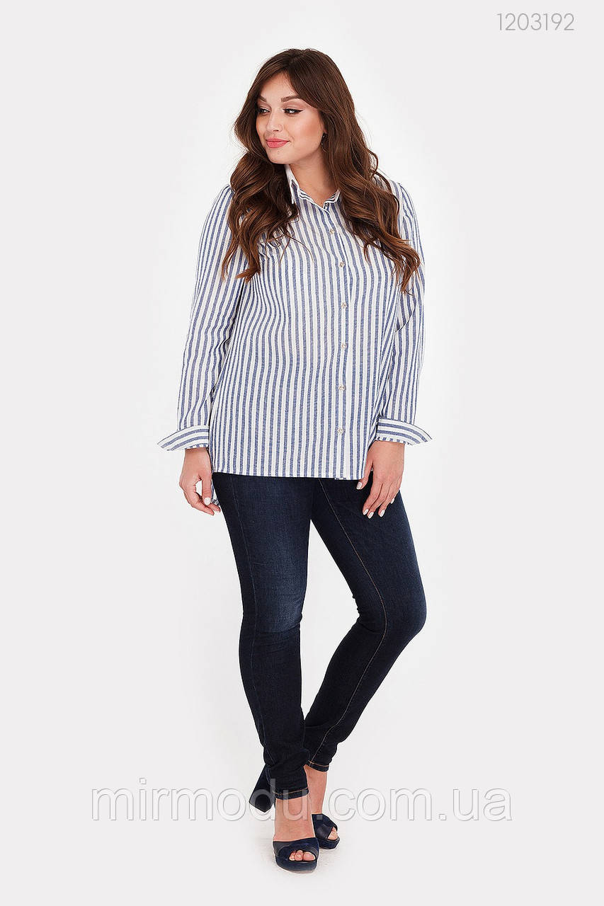 Женская рубашка Дорадо (синий) лен (3 расцветки) с 48 по 54 размер(рин)