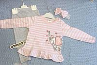 """Костюм для новорожденной девочки с повязочкой """"Слоник"""" 100% хлопок Турция р. 3, 6, 9 мес., фото 1"""