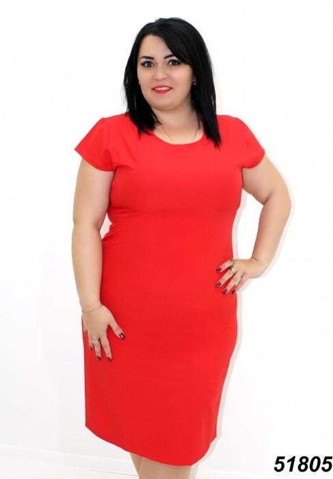 Легкое платье большого размера,крансое 50,52,54,56