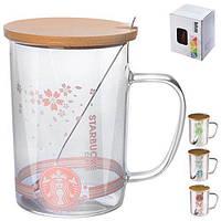 """Чашка с крышкой и ложкой """"Starbucks glass"""" 410мл"""