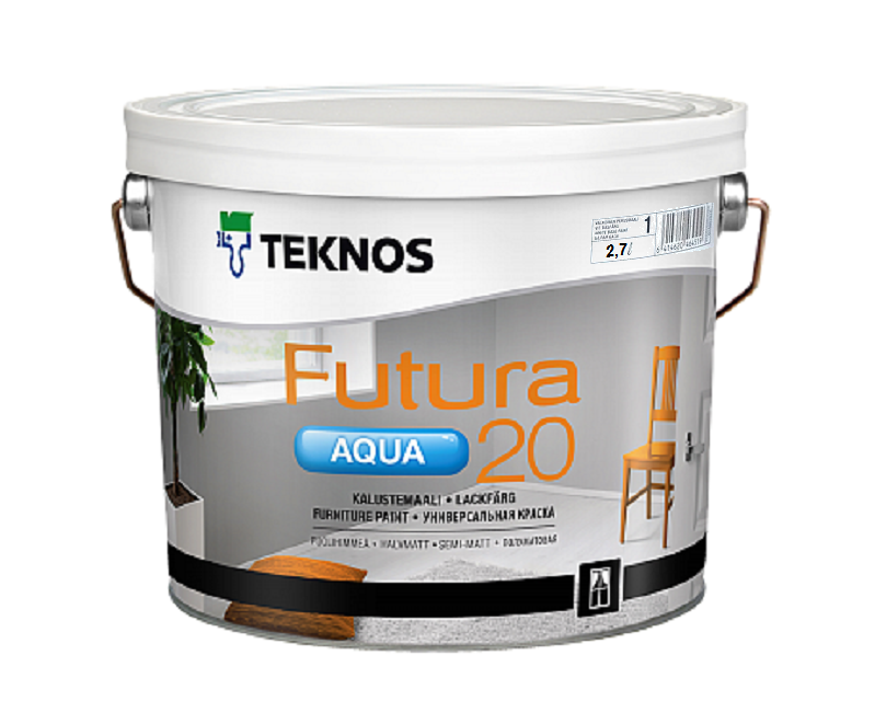 Універсальна водорозчинна фарба для дерева та металу Teknos Futura Aqua 20, 2.7л