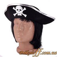 Шляпа пирата, серебристая кайма