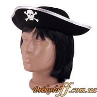 Шляпа пирата детская, серебристая кайма