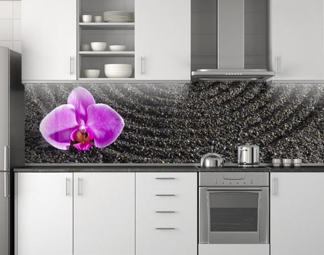 Кухонный фартук Фиолетовая орхидея на черном писке ПВХ 62х205 см (под заказ любой размер)