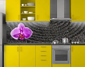 Кухонный фартук Фиолетовая орхидея на черном писке ПВХ 62х205 см (под заказ любой размер), фото 2