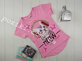 Детская розовая футболка I love cat с пайетками для девочки 3-8 лет