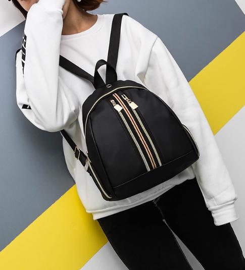 Рюкзак женский чёрный PU с красочным оформлением