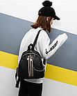 Рюкзак женский чёрный PU с красочным оформлением, фото 2