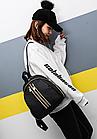 Рюкзак женский чёрный PU с красочным оформлением, фото 3