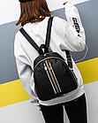 Рюкзак женский чёрный PU с красочным оформлением, фото 4