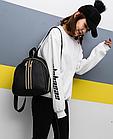 Рюкзак женский чёрный PU с красочным оформлением, фото 6