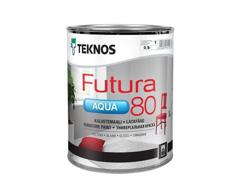 Універсальна водорозчинна фарба для дерева та металу Teknos Futura Aqua 80, 0.9л