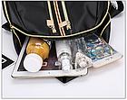 Рюкзак женский чёрный PU с красочным оформлением, фото 9