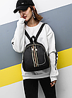 Рюкзак женский чёрный PU с красочным оформлением, фото 10