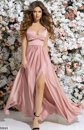 043ee39b42f Нарядное платье макси юбка солнце клеш с разрезом глубокое декольте без  рукав розовое