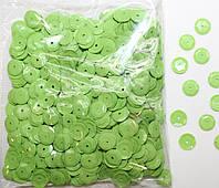 Пайетки круглые. Цвет - салатовый (тиснение), Ø - 6 мм, уп/15 грамм. №77, фото 1