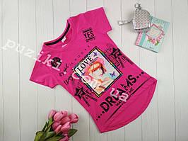 Детская футболка с удлиненной спинкой Dreams красная с декором из пайеток 7-12 лет
