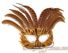 Карнавальная маска с перьями, коричневые оттенки