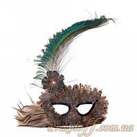 Карнавальная маска с перьями павлина и совы