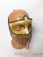 Маска карнавальная с бисером, золото