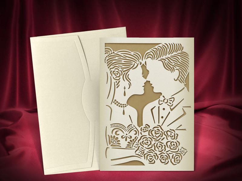 Свадебные пригласительные с лазерной высечкой жениха и невесты (арт. 3701)