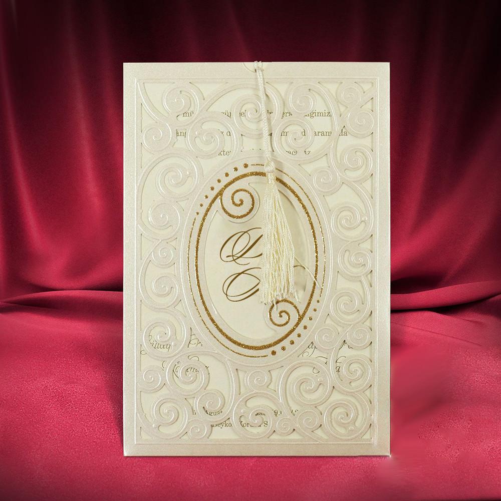 Красивые свадебные пригласительные в золотистых тонах (арт. 2734)