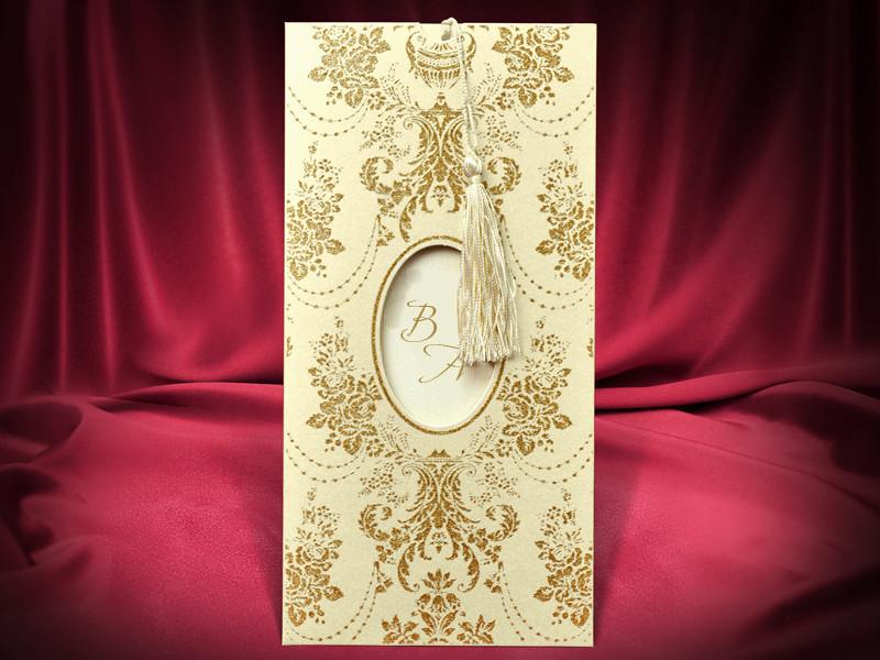 Красивые золотистые пригласительные с узорами (арт. 5465)