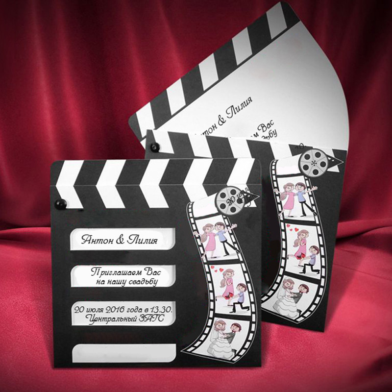 Оригинальные приглашения на свадьбу в виде кинохлопушки (арт. 2609)