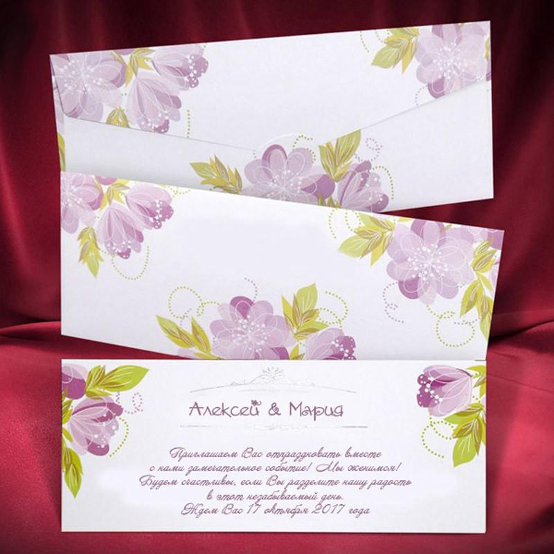 Красивые приглашения на свадьбу белого цвета с цветами (арт. 2620)