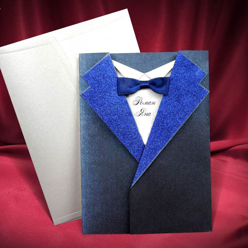 Запрошення на весілля у формі піджака синього кольору (арт. 6195)