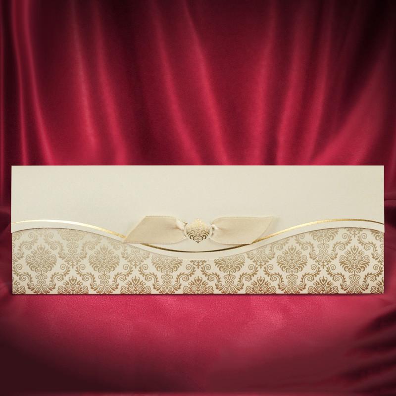 Свадебные приглашения с золотистыми узорами (арт. 2677)