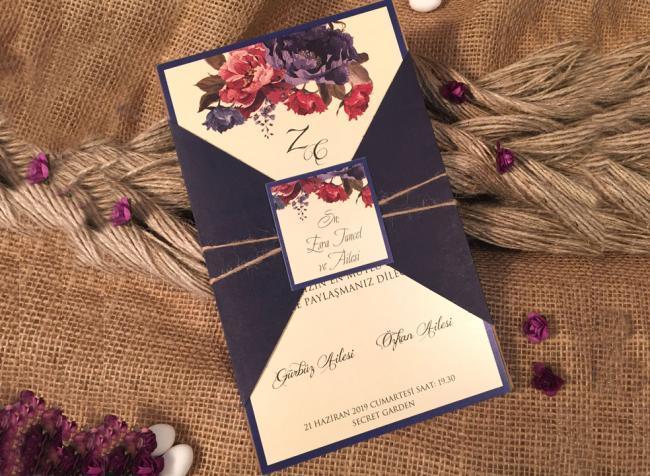Стильні запрошення на весілля з квітами (АРТ. 52530)