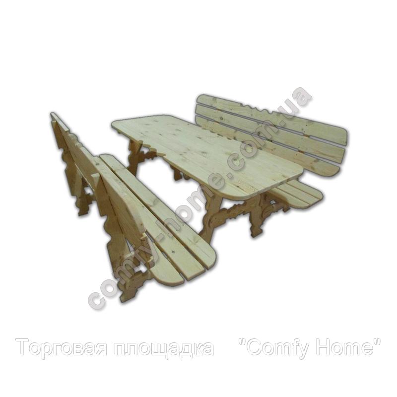 Стол с лавками деревянный (закруглённый)