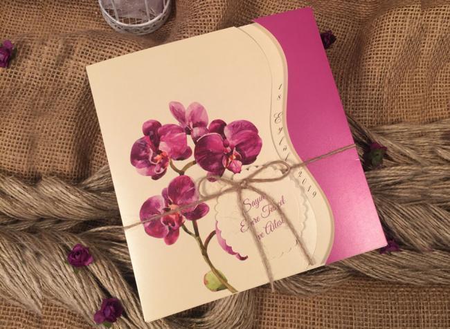 Пригласительные на свадьбу с орхидеями (АРТ. 52562)