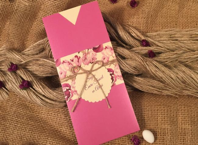 Рожеві запрошення на весілля (АРТ. 52570)