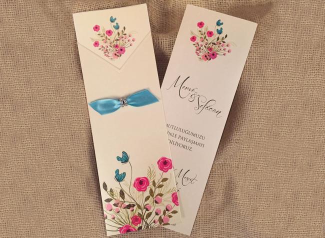 Приглашение на свадьбу с голубой ленточкой (АРТ. 20236)